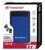 EXTERNAL HARD DRIVE TRANSCEND 1TB 2POINT5 INCH USB3 HDD BLUE